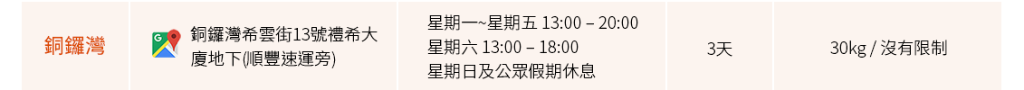 合作方自提點(銅鑼灣)_Shipgo國際集運